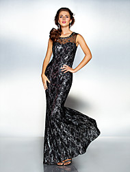Military Ball/Formal Evening Dress - Black Sheath/Column Scoop Floor-length Tulle/Sequined/Lace