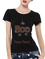 strass personalizado T-shirt do dia das bruxas algodão vaia e padrão de aranha das mulheres mangas curtas