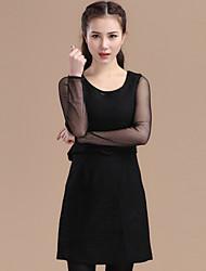 superior del vestido de tweed con cuello redondo de manga larga de las towm de las mujeres