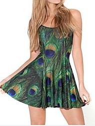 Peacock Feather Skater Dress Night Club Costume