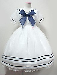 Kawaii Sailor Girl Puff Sleeve High Waist Organza School Lolita Dress(Length:83-87cm)