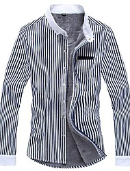Men's Long Sleeve Shirt , Cotton/Elastic Casual Striped