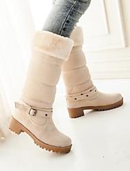 Zapatos de mujer - Tacón Robusto - Botas de Nieve / Punta Redonda - Botas - Vestido - Ante Sintético - Negro / Azul / Beige / Bermellón
