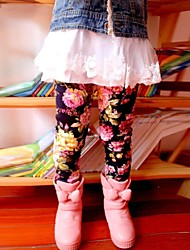 Girl's Sweet Lovely Floral Thickening Warm Leggings