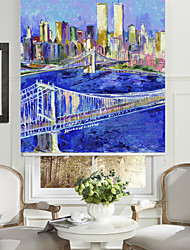 Artistic Oil Painting Style City Lans Bridge Roller Shade