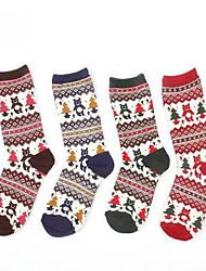 5pairs meias desenho animado floco de neve de algodão retro das mulheres (cor colocação aleatória)