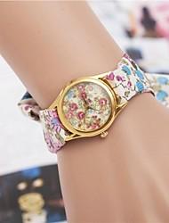 reloj de pulsera de cuarzo de cinta de tela de flores de diamantes de la moda de las mujeres