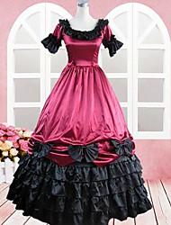 korte mouw vloer-lengte wijn rode katoenen gothic lolita jurk