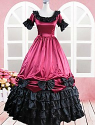 Short Sleeve Floor-length Wine Red Cotton Gothic Lolita Dress
