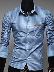 Men's Plaids Work Shirt,Cotton Blend Long Sleeve Blue / Green / Pink / Red