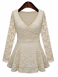 Women's V Neck Lace Long Sleeve Dress