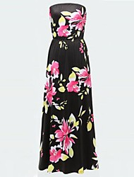 Women's Plus Size Flower Print Sexy Party Maxi Dress