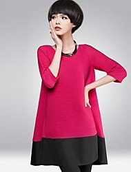 europeu gola redonda moda manga longa plus size vestido das mulheres