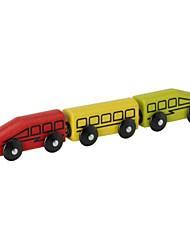 3 piezas de juguete set de vagones de tren de madera