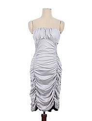 Club Girl Women's Clothing Grey Color Sexy Strapless Off Shoulder Bodycon Dress Ruched Bandage Party Dress 2205