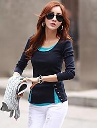 Women's Color Block Blue/Pink/Beige/Gray Blouse , U Neck Long Sleeve Button/Split