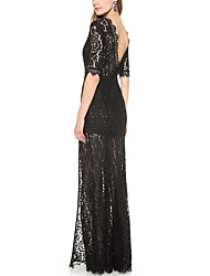 Haoduoyi Lace Flower Long Dress(Black)