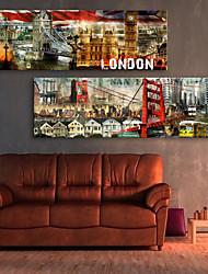Reproduction transférée sur toile Art Paysage Ville London Set de 2