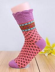 5pairs meias ceder retro gimp algodão das mulheres (cor colocação aleatória)
