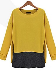 Women's Color Block Blue/Yellow/Gray T-shirt , Casual Round Neck Long Sleeve Layered