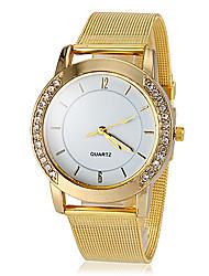 Women's Diamante Gold Case Alloy Band Quartz Wrist Watch