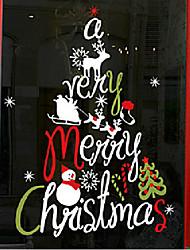 """Frohe Weihnachten künstlerischen abstrakten Baum Fensteraufkleber (44.52 """"w × 41.28"""" l)"""