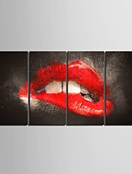 Stretched Canvas Art Temptation Lips Decorative Painting Set of 4