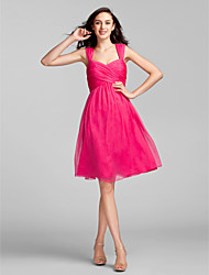 Knee-length Chiffon Bridesmaid Dress - Fuchsia Plus Sizes Sheath/Column Sweetheart