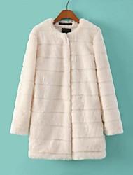 Women's Imitation Fur White Long Sleeve Outerwear