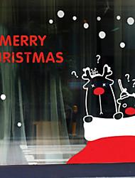"merry christmas schönen Cartoon Rentier Fensteraufkleber (35.4 ""w × 51.12"" l)"