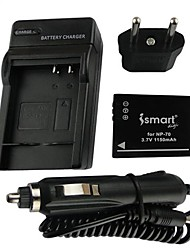 ismartdigi-fujifilm FNP-70 (1150mAh, 3.7V) câmera bateria + EU Plug + carro carregador para f20 40df 47fd 45 40 47 / pan-S005 / ric-db-60