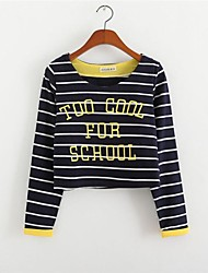 Women's Letter/Striped Blue/White/Yellow T-shirt , Round Neck