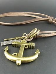 nouvelle mode des femmes de cru pendants d'ancrage de croix bijoux à long collier hommes en cuir véritable