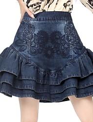 bordado del algodón de las mujeres de la falda corta
