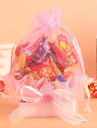 cesta de renda com botão bowknot favor bag-conjunto de 12 (mais cores)