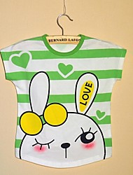Girl's Green / Pink Tee Cotton Summer / Spring