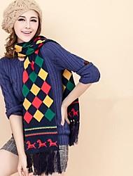 cachecol caddice hit pastilha cor de tricô com franjas das mulheres