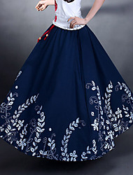 Spring And Autumn Cotton And Hemp Vintage  Casual  Elastic Waist Women Maxi Sun Skirts