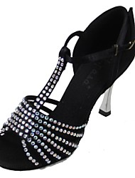 Non Customizable Women's Dance Shoes Latin Satin Stiletto Heel Black