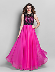 Prom / Formal Evening / Military Ball Dress - Elegant / Vintage Inspired Sheath / Column Jewel Floor-length Chiffon / Lace with Lace