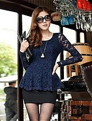Women's Lace Blue Blouse , Round Neck Long Sleeve Lace