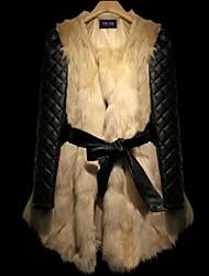 la moda de manga larga abrigo de piel de las mujeres de la PU&abrigo de piel delgada de piel