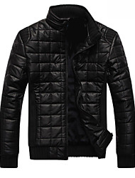 IfeyMilan Men's PU Cotton Causal Plus Velvet Stand Collar Coat Leather Clothing Jacket
