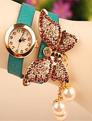 Мак женская элегантная имитация алмаза&жемчужный браслет часы