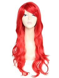 Lado vermelho da onda longa de 28 polegadas bate fibra de alta temperatura de moda feminina peruca sintética
