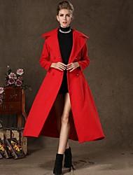 grand col à revers long manteau de laine de incern®women
