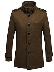 Men's Korean Style Stand Shoulder Pad Trench Coat