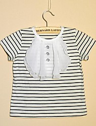Girl's Striped Tee,Cotton Summer / Spring Black / Red