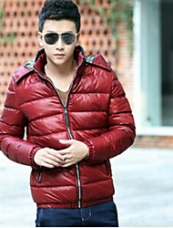 Men's Regular Parka Coat , Cotton Long Sleeve