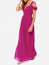 Haoduoyi Chiffon Elegant Luxurious Dress (Purple)